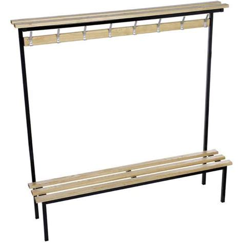 wooden changing room benches evolve solo cloakroom bench with wood top shelf ese direct