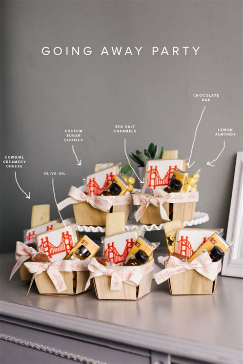 themes for a college farewell party going away party favor baskets party pinterest