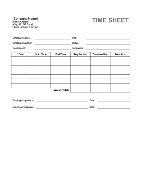 official time sheet templates formal word templates