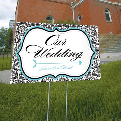 wedding yard signs personalized bird damask wedding reception ceremony