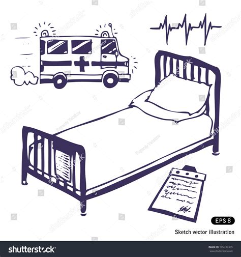 bed sketch hospital bed ambulance hand drawn sketch stock vector