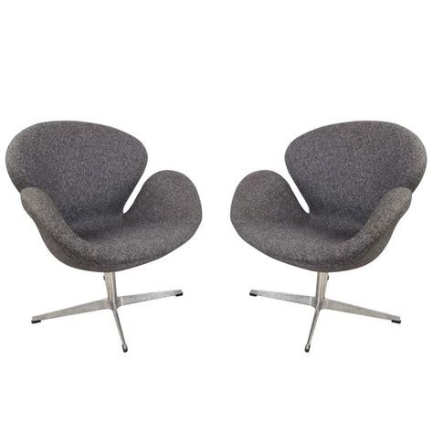 modern swivel lounge chair pair of mid century modern arne jacobsen style swivel