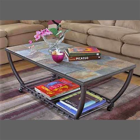 slate trimmed sofa side table slate tile coffee table has matching end table new