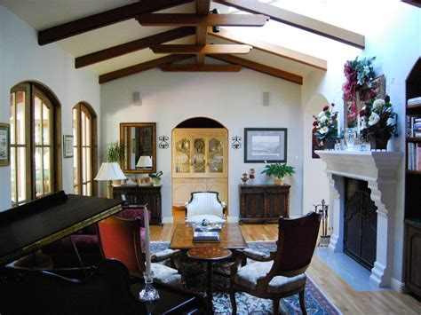 spanish style living room  wooden ceiling beams hgtv