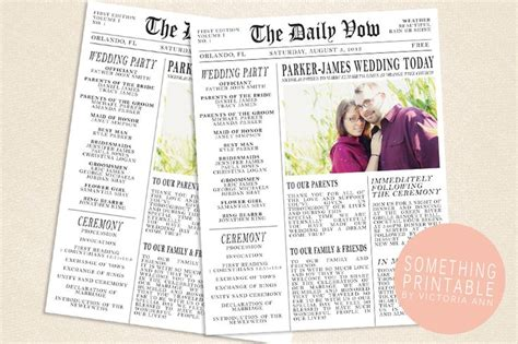 Wedding Newspaper Template something printable by printable newspaper wedding program design time
