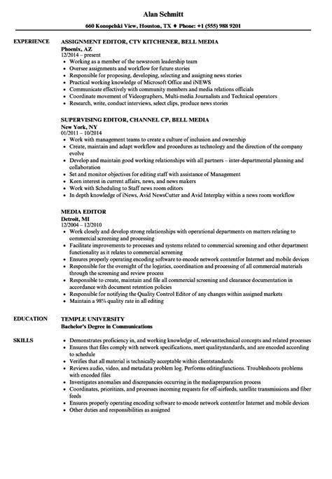Non Linear Editor Sle Resume by Media Editor Resume Sles Velvet