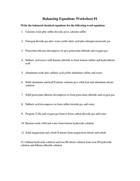 Word Equations Chemistry Worksheet by 28 Balancing Word Chemical Equations Worksheet