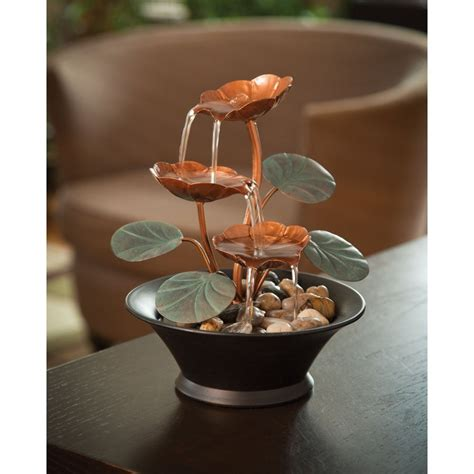 indoor tabletop fountains  water lily design decor