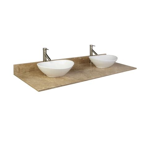 vessel sink vanity top 49 quot x 22 quot silver travertine vessel sink vanity top bathroom