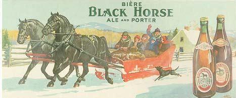 Affiche publicitaire pour la bière Black Horse D And D Motors