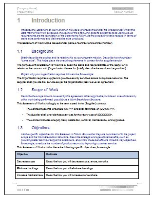 How To Write A Statement Of Work Template by Statement Of Work Ms Word Excel Template
