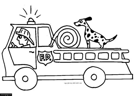 coloring page of a fire truck fire truck fireman and fire dog printable coloring page