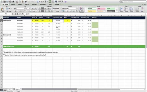 Marketing Campaign Tracking Excel Template For Digital