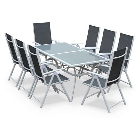 naevia 8 seater garden table and chairs white grey tx190x8whgy garden and outdoor