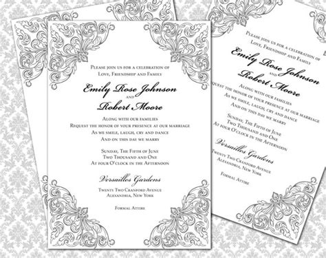 silver wedding invitations templates diy wedding invitation printable template 5x7 invitation