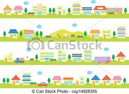 stock photo company 집 거리 가게 가게 와 집 통하고 있는 a 거리 백색 배경 csp14928355