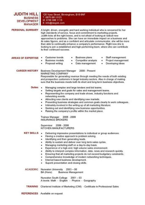 Resume Objective Exles Business Development Business Development Manager Cv Template Managers Resume Marketing Application Revenue