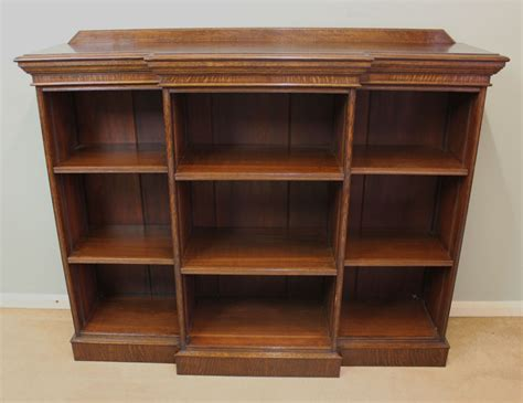 antique edwardian oak breakfront open bookcase 300501
