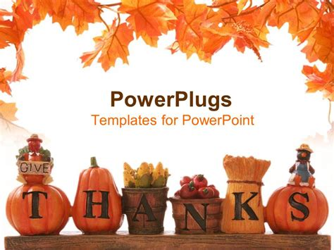 Powerpoint Template Thanksgiving Decoration With Beautiful Leaves Design And White Background Thanksgiving Powerpoint Templates