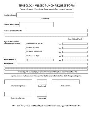 Clock In Sheet Template Missed Punch Request Form Fill Online Printable Calculators For Time Clock Correction Form Template