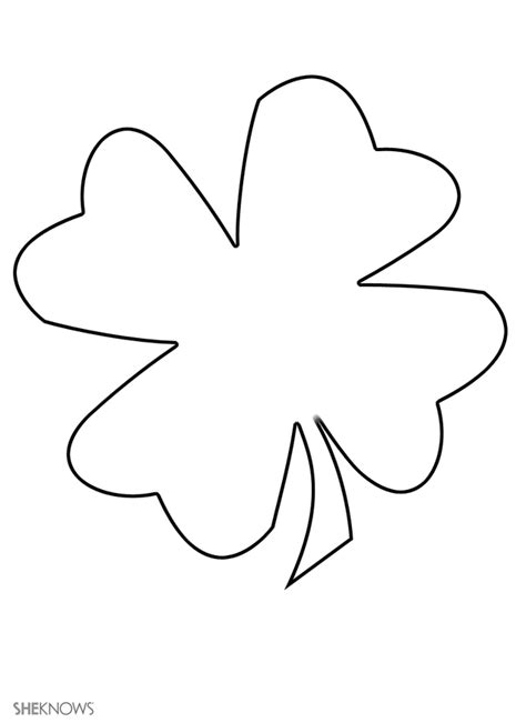 four leaf clover free printable coloring pages