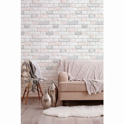 glitter brick wallpaper blush diy bm