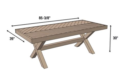 Patio Table Size Outdoor Table With X Leg And Herringbone Top Free Plans