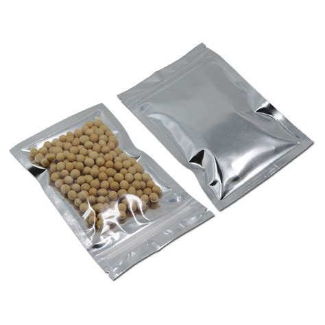 Standing Pouch Alufoil Silver 500 Zipper flat zip lock aluminum foil reclosable retail mylar bags packaging pouch zipper ebay