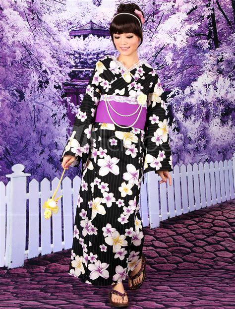 Tb 077 Tumbler Retro Black black flower print cotton slub s kimono milanoo