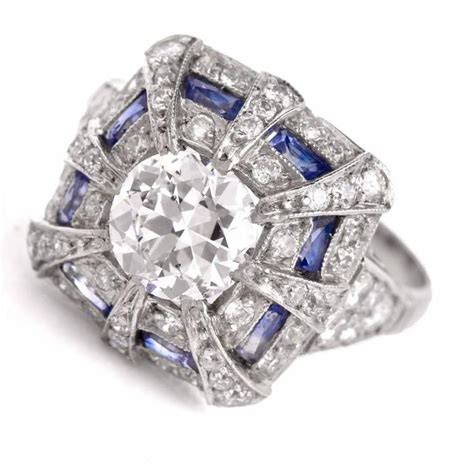 1930 s sapphire platinum engagement ring for sale