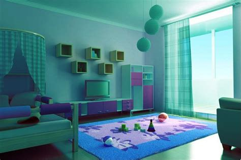 cool room colors this bedroom is painted in an aqua color and decorated in purple and light blue accents the