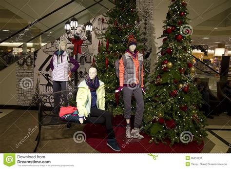 christmas holiday decorations department store stock photo