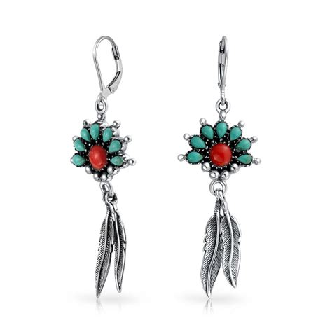 Dangle Earring squash blossom turquoise coral feather dangle leverback