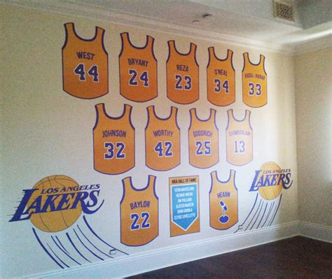 lakers bedroom lakers hall of fame hand painted wall mural contemporary