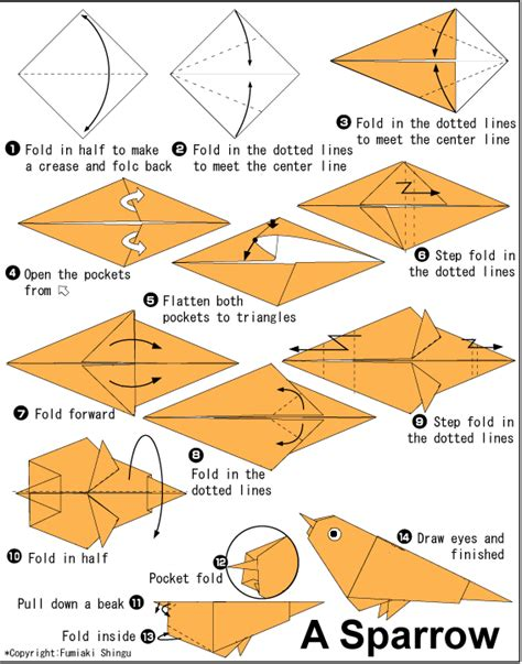 How To Make An Origami Sparrow - sparrow easy origami for