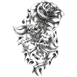 black rose with thorns tattoo black white temporary skulls w thorns