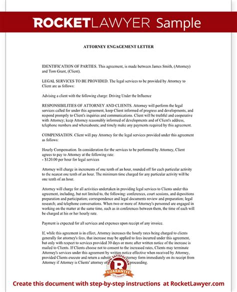 engagement agreement template attorney engagement letter for firm client