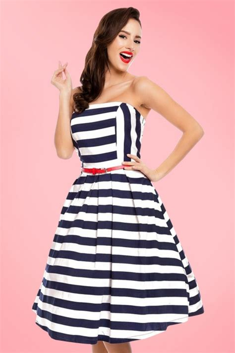 strapless swing dress 50s lana stripes strapless swing dress in navy and white