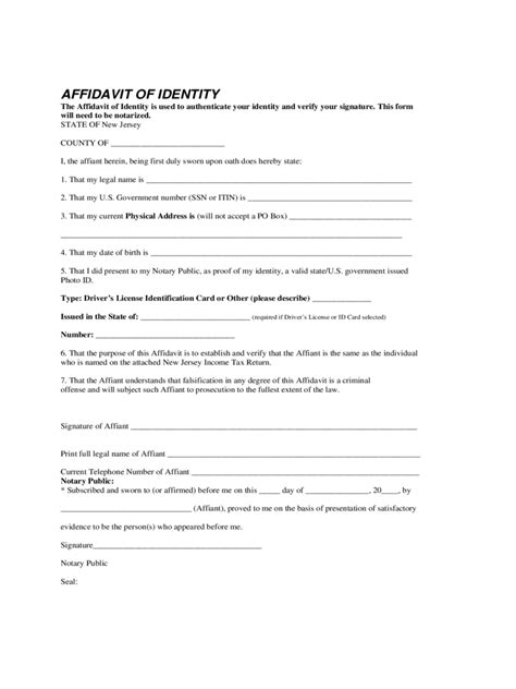 Identity Theft Affidavit 9 Free Templates In Pdf Word Excel Download Affidavit Template New Jersey