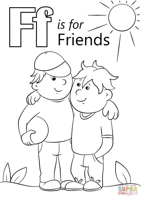 coloring pages with friends letter f is for friends coloring page free printable