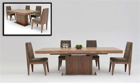 Designer Dining Table Zenith Modern Walnut Extendable Dining Table Modern Dining Dining Room