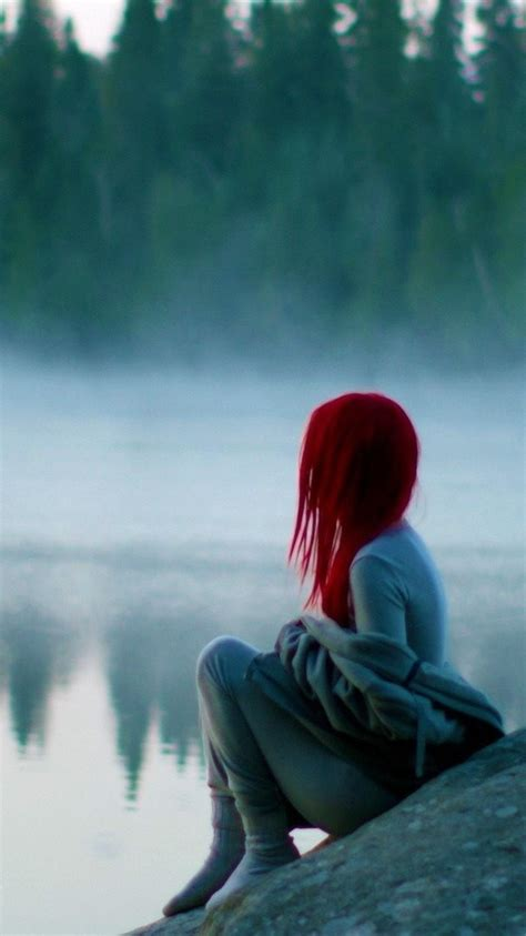 red hairs girl sitting  lake iphone wallpaper iphone wallpapers