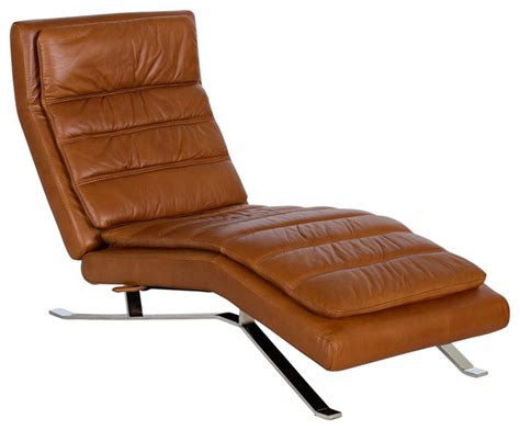 Brown Leather Chaise Lounge Chair Nagalis Leather Chaise Contemporary Indoor Chaise Lounge Chairs By Scandis