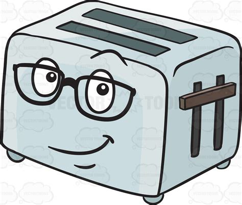 Toast In Toaster Oven Pop Up Toaster Wearing Eye Glasses Emoji Cartoon Clipart