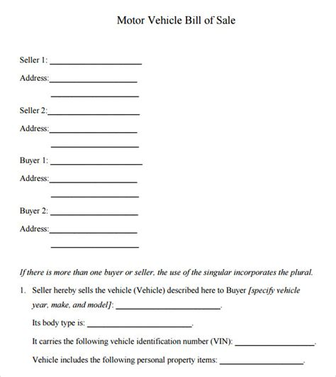 motor vehicle form template vehicle bill of sale template 14 free