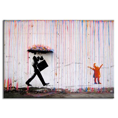 decor painting aliexpress com buy banksy art colorful rain wall canvas