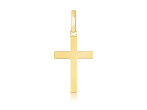 Cross Flats small polished flat cross pendant in 14k yellow gold