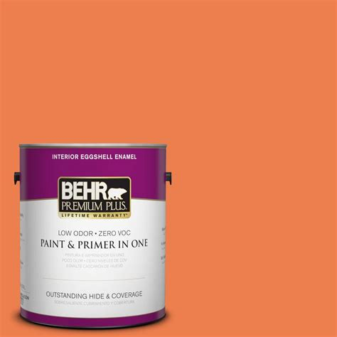 Interior Paint Home Depot Behr Premium Plus 1 Gal P200 6 Sizzling Sunset Eggshell