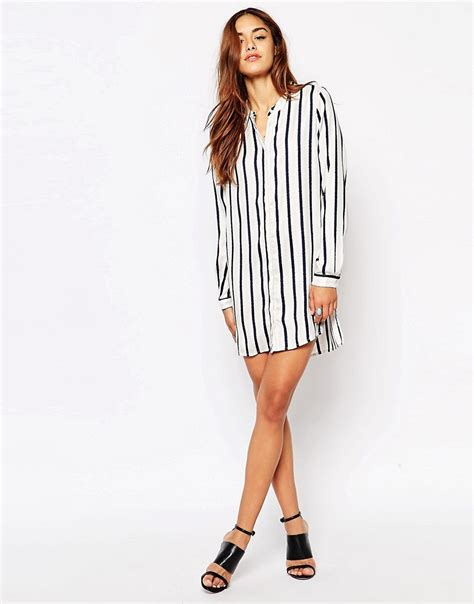 Striped Oversized Dress Size Mlxl 1 vila vila vertical stripe shirt dress at asos