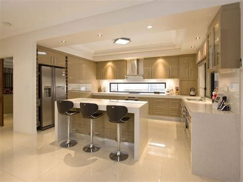 Open Plan Kitchen Designs | modern open plan kitchen design using polished concrete